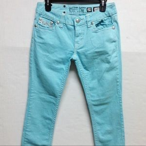 Miss Me cuffed skinny turquoise jeans